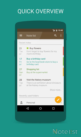 Note list - notepad app for Android - Quick overview