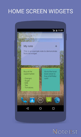 Note list - notepad app for Android - Home Screen Widgets