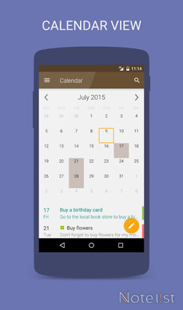Note list - Notepad app for Android - Calendar view