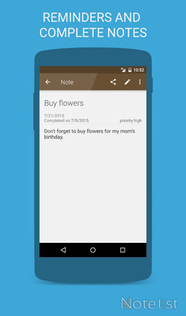 Note list - Notepad app for Android - Reminders and completed notes