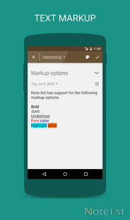 Note list - notepad app for Android - Text Markup