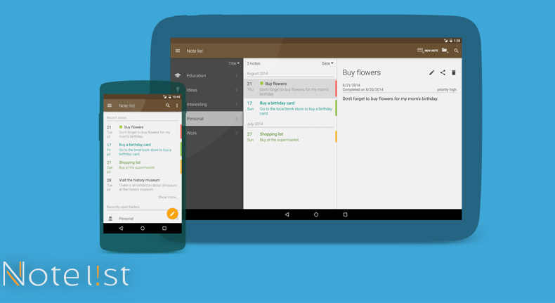 Note list - Notepad app for Android